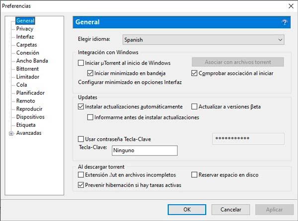 Utorrent configurar preferencias