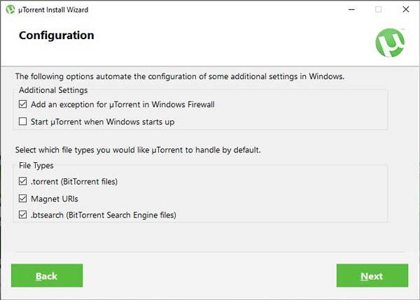 Utorrent instalación inicio con windows