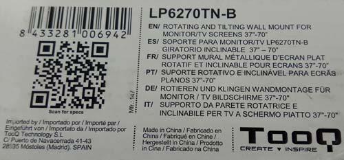 LP6270TN Etiqueta especificación