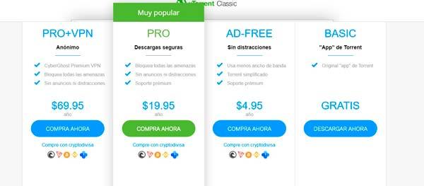 Utorrent descarga opciones