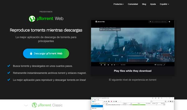 Utorrent página principal